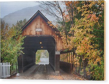 Vermont Fall Colors Over The Middle Bridge Wood Print
