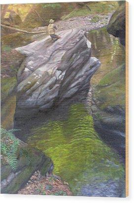 Vermont Fisherman Wood Print by Laurel Ellis