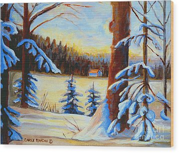 Vermont Log Cabin Maple Syrup Time Wood Print by Carole Spandau