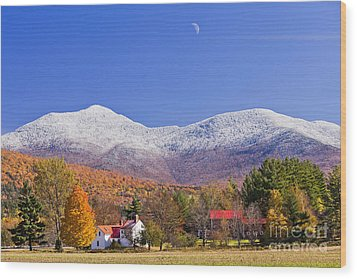 Vermont October Moonrise Wood Print by Alan L Graham