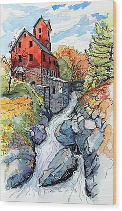 Wood Print featuring the painting Vermont Red by Terry Banderas