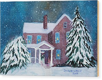 Wood Print featuring the painting Vermont Studio Center In Winter by Donna Walsh