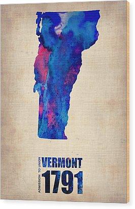 Vermont Watercolor Map Wood Print by Naxart Studio