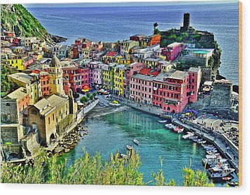 Vernazza Alight Wood Print by Frozen in Time Fine Art Photography