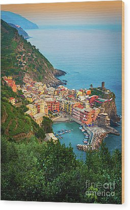 Vernazza From Above Wood Print by Inge Johnsson