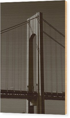 Verrazano Black And White Wood Print by Christopher Kirby
