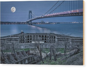 Wood Print featuring the photograph Verrazano Narrows Bridge Full Moon by Susan Candelario