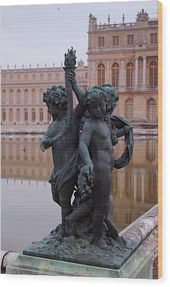 Wood Print featuring the photograph Versailles Reflection Pool by Nancy Bradley