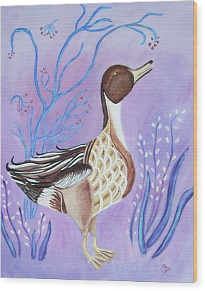Version Of A Pintail Wood Print by Belinda Lawson