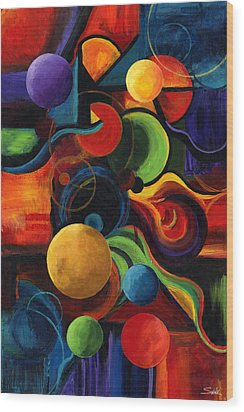 Vertical Synergy Wood Print by Laura Swink