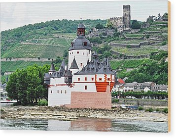 Vertical Vineyards And Buildings On The Rhine Wood Print by Kirsten Giving