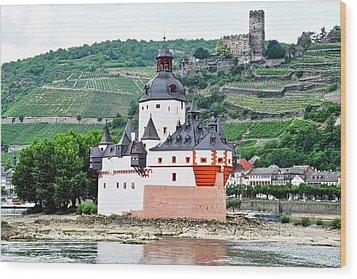 Vertical Vineyards And Buildings On The Rhine Wood Print