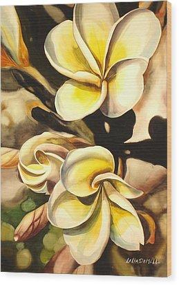 Verticle Plumeria Wood Print