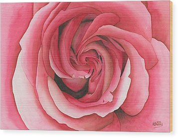 Vertigo Rose Wood Print by Ken Powers