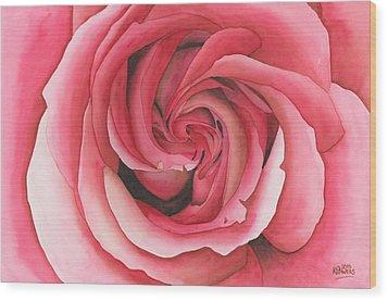 Vertigo Rose Wood Print by Ken Powers