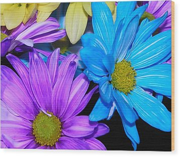 Very Colorful Flowers Wood Print