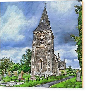Very Old Church Wood Print by Pennie  McCracken