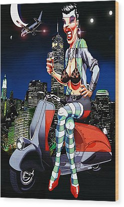 Vespa Girl Wood Print by Jose Roldan Rendon