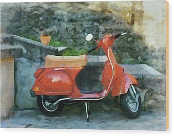 Vespa Parked Wood Print by Jeff Kolker