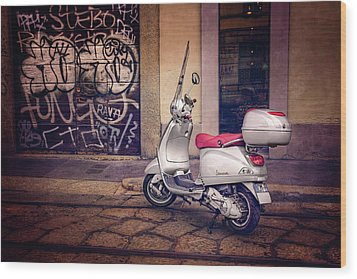 Wood Print featuring the photograph Vespa Scooter In Milan Italy  by Carol Japp