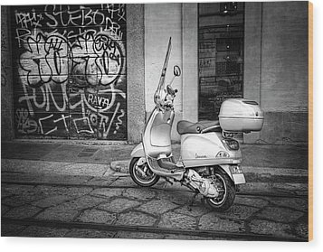 Wood Print featuring the photograph Vespa Scooter In Milan Italy In Black And White  by Carol Japp