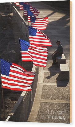 Veteran With Our Nations Flags Wood Print