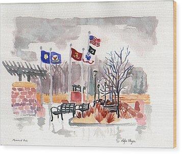 Veteran's Memorial Park Wood Print by Rodger Ellingson