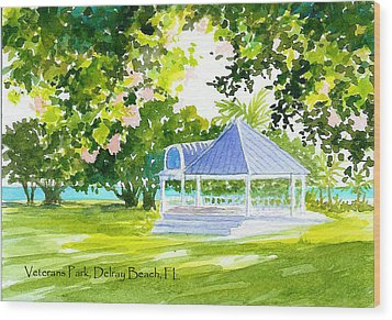 Veterans Park Gazebo Wood Print by Anne Marie Brown