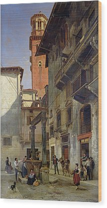Via Mazzanti In Verona Wood Print by Jacques Carabain
