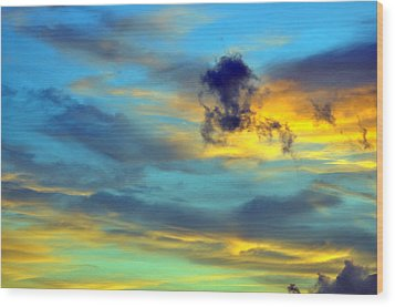 Vibrant Evening Sky Wood Print by Rose  Hill