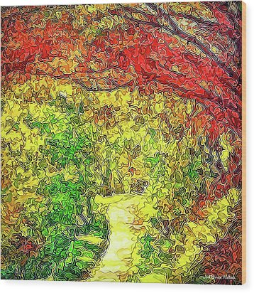 Wood Print featuring the digital art Vibrant Garden Pathway - Santa Monica Mountains Trail by Joel Bruce Wallach