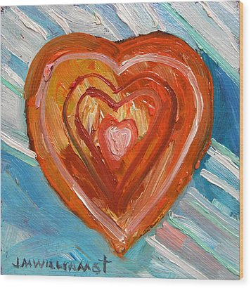 Wood Print featuring the painting Vibrant Heart by John Williams