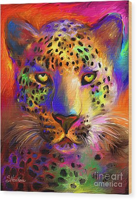 Vibrant Leopard Painting Wood Print