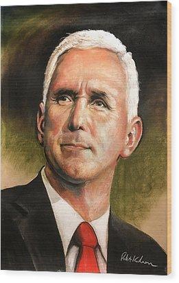 Vice President Mike Pence Portrait Wood Print by Robert Korhonen