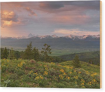 Victor Idaho Sunset Wood Print by Leland D Howard