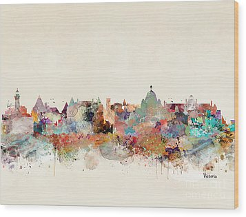 Wood Print featuring the painting Victoria Canada Skyline by Bri B