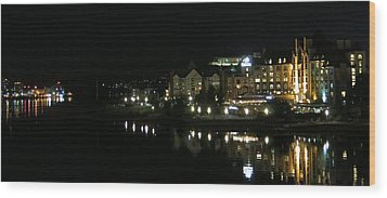 Victoria Harbor Night View Wood Print