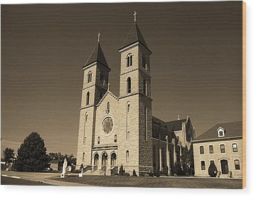 Wood Print featuring the photograph Victoria, Kansas - Cathedral Of The Plains Sepia 6 by Frank Romeo