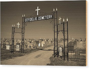 Wood Print featuring the photograph Victoria, Kansas - St. Fidelis Cemetery Sepia by Frank Romeo