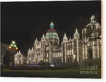 Victoria Parliament Buildings At Night At Christmas Wood Print