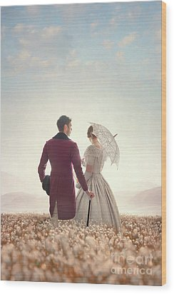Wood Print featuring the photograph Victorian Couple Standing In A Meadow by Lee Avison