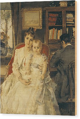 Victorian Family Scene Wood Print by Alfred Emile Stevens