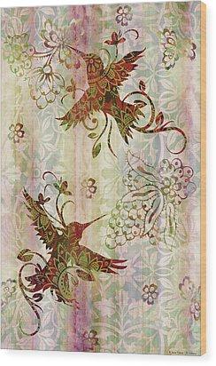 Victorian Humming Bird Pink Wood Print by JQ Licensing