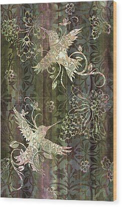 Victorian Hummingbird Green Wood Print by JQ Licensing
