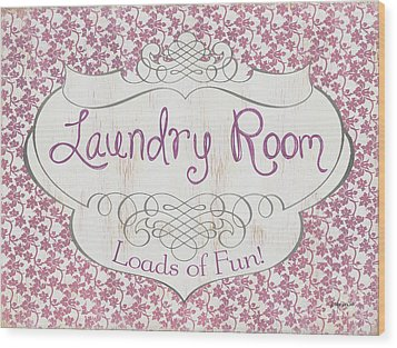 Wood Print featuring the painting Victorian Laundry Room by Debbie DeWitt
