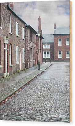 Wood Print featuring the photograph Victorian Terraced Street Of Working Class Red Brick Houses by Lee Avison