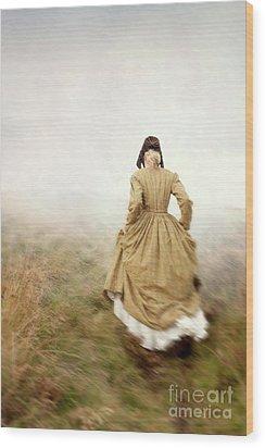 Victorian Woman Running On The Misty Moors Wood Print