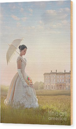 Victorian Woman With Parasol And Fan Wood Print