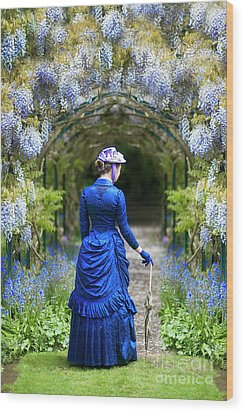 Victorian Woman With Wisteria Wood Print