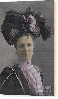 Wood Print featuring the photograph Victorian Women With Big Hat by Lyric Lucas
